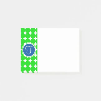 Blue & Green Polka Dot Monogram Post-it Notes