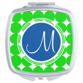 Blue & Green Polka Dot Monogram Travel Mirror