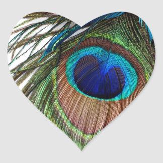 Blue Green Purple Exotic Peacock Feather Heart Sticker