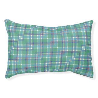Blue Green Purple Plaid Pet Bed