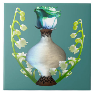 Blue Green Rose Brown Vase Tile