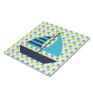 Blue Green Sail Boat Tiles