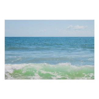Blue Green Sea Peaceful Waves Poster