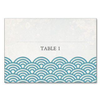 Blue Green Sea Waves Place Name Card