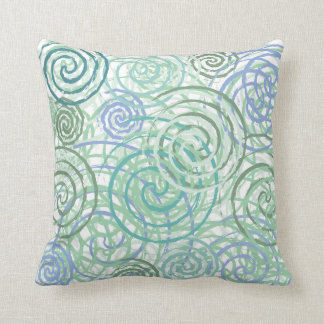 Blue Green Seaside Swirls Beach House Design Throw Pillow
