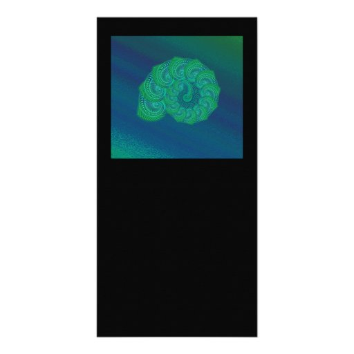 Blue, Green Shell. Abstract Art Design. Photo Card Template