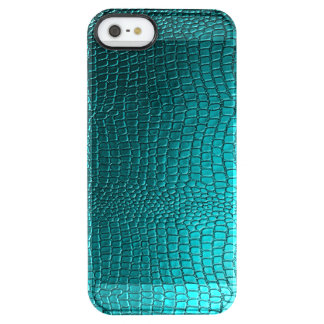 Blue-Green Snake Skin Texture Print Clear iPhone SE/5/5s Case
