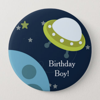 Blue Green Space Personalized Birthday Button