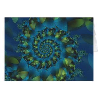 Blue & Green Spiral Fractal Greeting Card