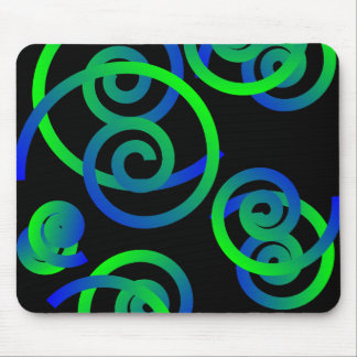 Blue/Green Spirals and Swirls Mousepad