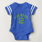 Blue & Green Sports Jersey Custom Name Number Baby Bodysuit