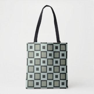 Blue-Green Square Pattern Tote Bag