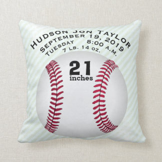 Blue Green Stripe Baseball Boys Birth Record Throw Pillow