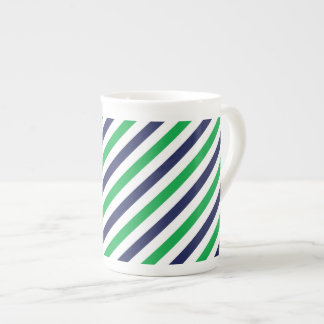 Blue & Green Stripe Bone China Mug