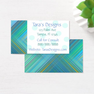 Blue Green Striped Business Cards
