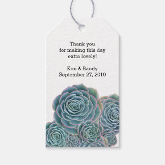 Blue Green Succulent Wedding Favor Gift Tag