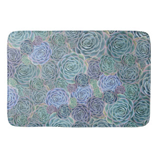 Blue Green Succulents Bath Rug