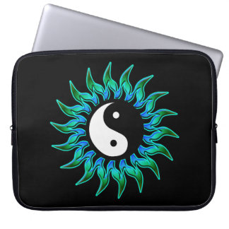 Blue Green Sunburst Yin Yang Laptop Sleeve