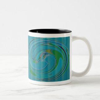 Blue Green Swirly Design Two-Tone Coffee Mug