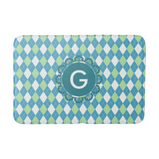 Blue green tartan modern pattern custom monogram bath mat