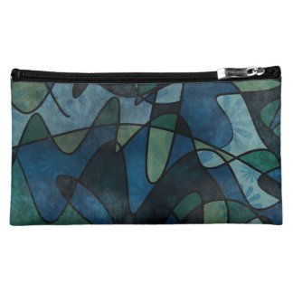 Blue Green Teal Digital Stained Glass Abstract Art Cosmetic Bag