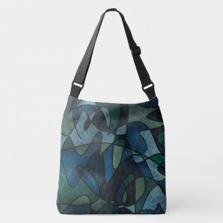 Blue Green Teal Digital Stained Glass Abstract Art Crossbody Bag