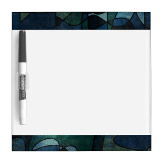 Blue Green Teal Digital Stained Glass Abstract Art Dry Erase Board