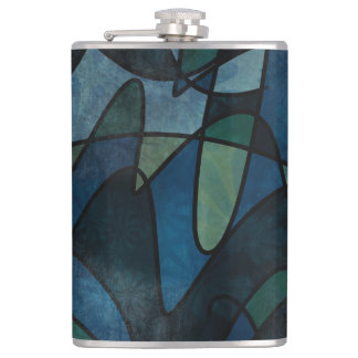 Blue Green Teal Digital Stained Glass Abstract Art Hip Flask