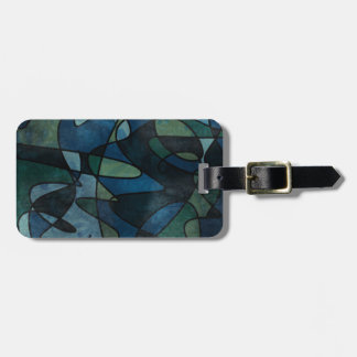 Blue Green Teal Digital Stained Glass Abstract Art Luggage Tag