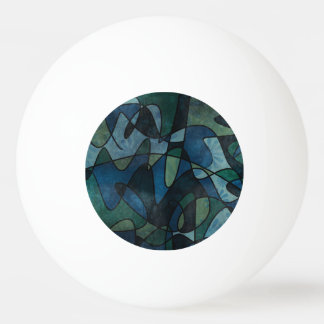 Blue Green Teal Digital Stained Glass Abstract Art Ping Pong Ball