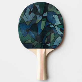 Blue Green Teal Digital Stained Glass Abstract Art Ping Pong Paddle