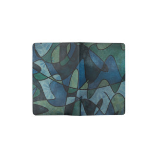 Blue Green Teal Digital Stained Glass Abstract Art Pocket Moleskine Notebook