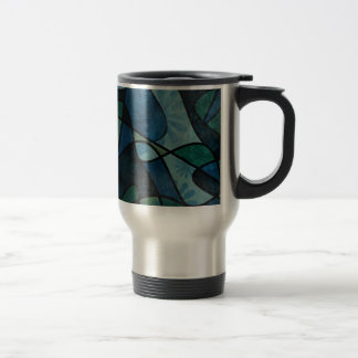 Blue Green Teal Digital Stained Glass Abstract Art Travel Mug