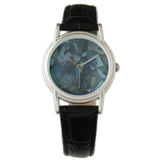 Blue Green Teal Digital Stained Glass Abstract Art Watch