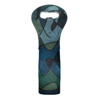 Blue Green Teal Digital Stained Glass Abstract Art Wine Bag