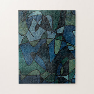 Blue Green Teal Digital Stained Glass Abstract Jigsaw Puzzle