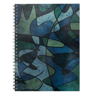 Blue Green Teal Digital Stained Glass Abstract Notebooks