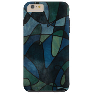 Blue Green Teal Digital Stained Glass Abstract Tough iPhone 6 Plus Case