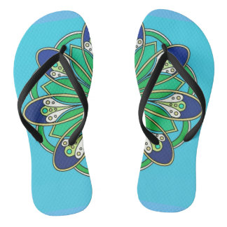 Blue Green Teal Floral Split Design Flip Flops