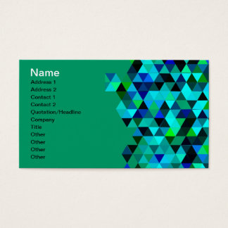 Blue Green Technology Triangle Pattern Business Card