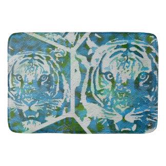 Blue Green Tiger Collage Bath Mat