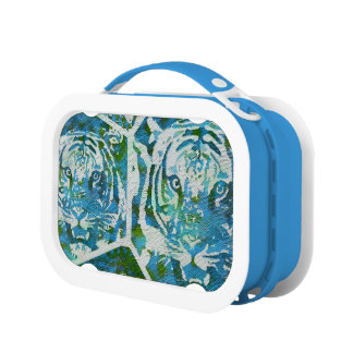 Blue Green Tiger Collage Lunchbox