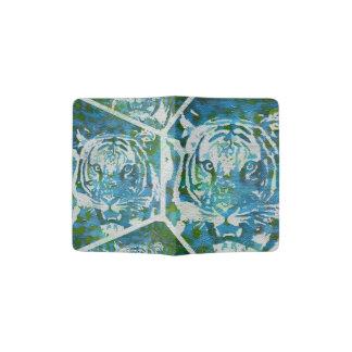 Blue Green Tiger Collage Passport Holder