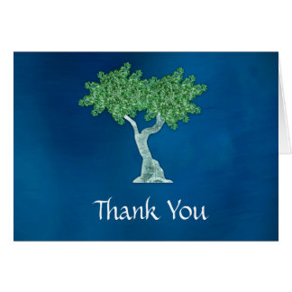 Blue Green Tree of Life Thank You Card