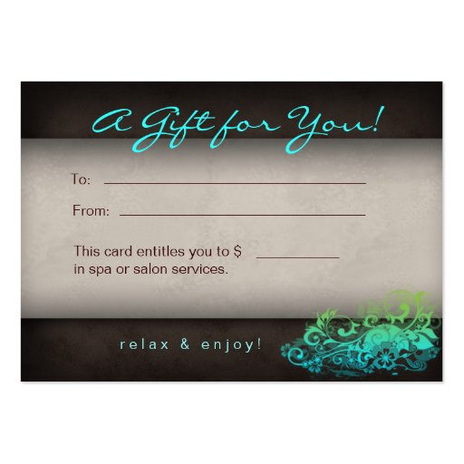 Blue Green Trendy Salon Spa Floral Gift Card Business Card