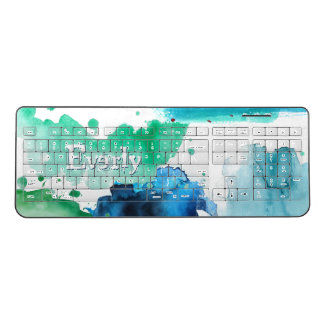 Blue & Green Trendy Watercolor Abstract Typography Wireless Keyboard