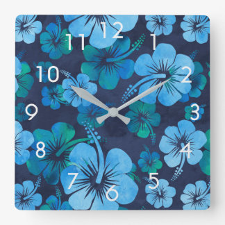 Blue Green Tropical Floral Hibiscus Wall Clock