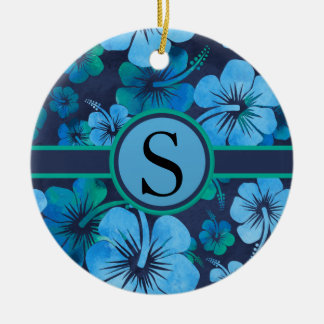 Blue Green Tropical Hibiscus Floral Monogram Ceramic Ornament