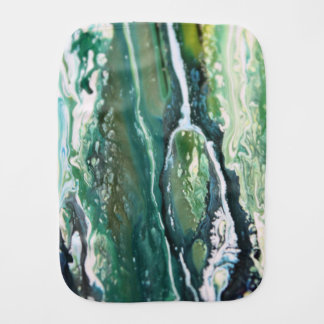 Blue green turquoise vertical abstract paint lines burp cloth