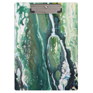Blue green turquoise vertical abstract paint lines clipboard